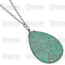 BIG 4cm veined TURQUOISE TEARDROP PENDANT long chain SILVER FASHION NECKLACE