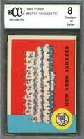 New York Yankees Team Card 1963 Topps #247 W/ Mantle And Maris BGS BCCG 8