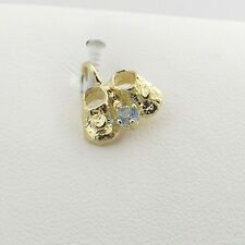 14K Gold 3D Baby Shoes Aquamarine March Birthstone Charm Pendant 0.8gr