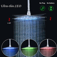 "16""Chrome LED Ultrathin Shower Head Square Rain Large Overhead Spray Wall Mount"