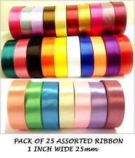 Satin Ribbon 1 inch 25mm wide Art craft all purpose PACK OF 25 assorted colors
