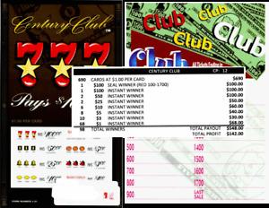 690ct 5W $1.00 CENTURY CLUB bingo seal card break open Last Sale sign on ($100)