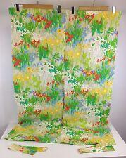 """VTG 34"""" X 46"""" Mid Century Mod Hippie Floral Flower Curtains RV Window Decor"""