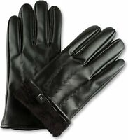 Men's Sensitive Touchscreen Gloves -Faux Leather and Thermal Fleece Lining -HBNY