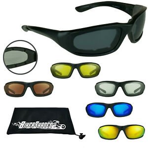 Foam Padded Motorcycle Sunglasses Wind Resistant Goggles Clear Yellow HD Clarity