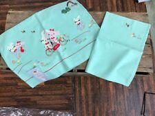 Vintage Sam Hedaya ? Infant Crib Sheet Pillow Case Light Green Appliqué Vtg NOS