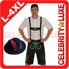 New Mens Oktoberfest Lederhosen German Bavarian Beer Black Fancy Dress Costume