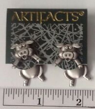 """JJ"" Jonette Jewelry Silver Pewter 'PIG 3-D' Pierced Earrings"