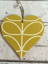 Handmade Using ORLA KIELY Linear Stem XL Hanging Heart 12cm Keepsake Tag Retro