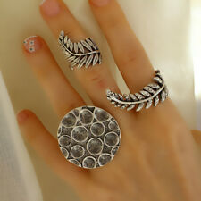 Wrap Stacking Boho Antique Silver Statement Fashion Leaf Unique Stackable Ring