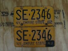1962 NEW YORK LICENSE PLATE PAIR # SE-2346 WITH 1963 TAB