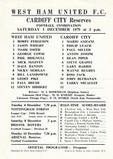West Ham United Reserves v Cardiff City Reserves 1979/80 (1 Dec) Combination