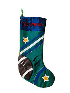 20 In Football Touchdown Green Christmas Stocking