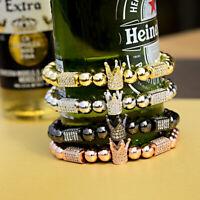 Luxury CZ Polygon Ball Crown Charm Copper Bead Macrame Handmade Men Bracelets