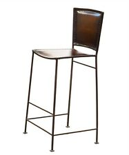 Set of 4 Iron frame Bar Stool brown Leather Seat Height 30""
