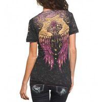 Sinful AFFLICTION Womens T-Shirt ADORIA Guns Wings REVERSIBLE Biker $44
