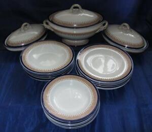 Antique Royal Worcester Vitreous Regency Cobalt Blue Dinner Service for Six 1912