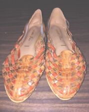VTG Huaraches Sandal Emma Shoe Brown Woven Leather Brazil Women Size 9
