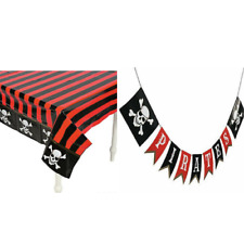 Pirate Skull and Bones Tablecloth & Garland Set Kids Birthday Party Decorations