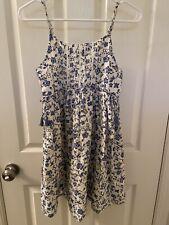 Next UK Girls Blue Floral Tassel Detail Sundress Dress Size 12 Years