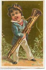 CHROMO. Enfant . Instrument de musique . Saxophone Baryton .Baritone Saxophone