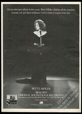 1989 Bette Midler photo Wind Beneath My Wings song release vintage print ad