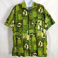 Vintage 60s Go Barefoot L Green Feet Footprint Golf Surf Beach Hawaiian Shirt