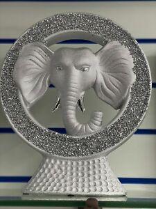 New Bling Crushed Diamond Silver Elephant Head Ornament Shelf Sitter Gift UK