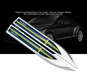2 SWEDEN SE Flag Chrome Metal Car Auto Emblem Badge Sticker Decal For Volvo Saab