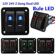 Blau LED Lichtleiste 2Gang Wippschalter Schalter Panel wasserdicht  für Auto LKW