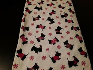 SCOTTY DOG LOVERS....Living Quarters Full Flat Flannel Sheet/2 Std Pillowcases