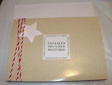 10 Christmas Cards & Envelopes Tan Red White 4X6 Photo Frame Holder Peel & Stick