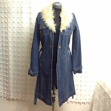 Tommy Hilfiger Jeans Sz M Long Trench Coat Blue Stretch Denim Fur Collar Retro