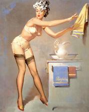 "Vintage GIL ELVGREN Pinup Girl CANVAS PRINT Poster Bathroom Troubles 8X10"""
