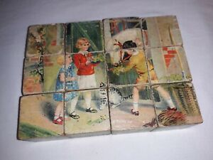 Vintage 1950s 12-Piece Wooden Block Cube Puzzle - Retro Children and Animals