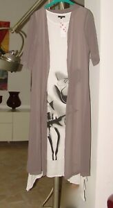 Floryday 2-Teiler Kleid mit Mantel Chasuble Gr. L (40/42) weiß/taupe Neu/Etikett
