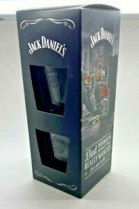 PAIR OF JACK DANIELS GLASSES - PUB BAR TWO 2 TUMBLER WHISKY WHISKEY HOME BAR