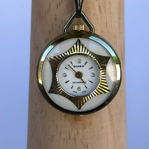 Vintage Borea Antimagnetic Pendant Pocket Watch Wind Up Mechanical Women Swiss