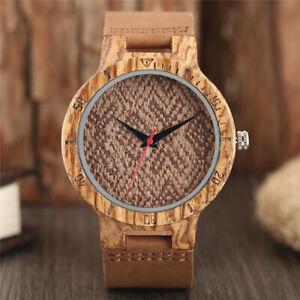 Creative Weave Wood Watch Men Nature Bamboo Quartz Wristwatch Leather Bracelet