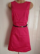 New Look Hot Pink Sleeveless Belted Cotton A-Line Party Dress - Size 12 - BNWT
