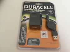 Duracell Dual USB AC Charger w/ Retractable Sync & Charge Cable 3.1 amp NEW!