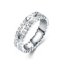 White Gold Plated Hollow Zircons bridal engagement ring 17 mm size O FR224