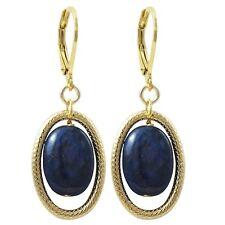 Gold Finish Bue Semi-precious Gemstone Oval Dangling Earring