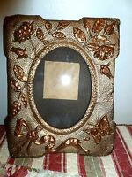 Antique Ornate Picture Frame Butterfly roses swag Handmade victorian folk art
