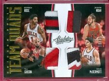 2015-16 ABSOLUTE BKB D. Rose/Noah/Gibson/McDermott SSP QUAD PATCH CARD #d 18/25