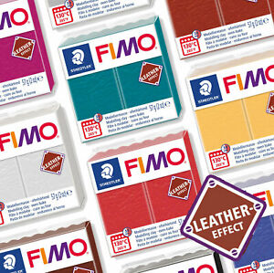 FIMO LEATHER EFFECT 57G POLYMER MODELLING OVEN BAKE CLAY - 12 COLOURS