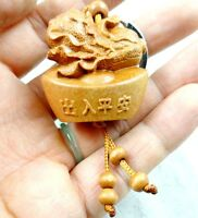 Key Ring  Lover Gift GG5 33*31MM Hand-carved Buddha Wooden Crafts Key Chain