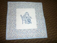 COMPLETED BLUEWORK GIRL SEWING LITTLE QUILT