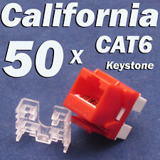 50 X Pcs lot Keystone Jack CAT6 Red Network Ethernet 110 Punch Down 8P8C RJ45