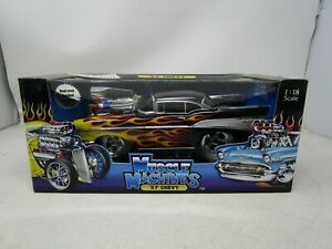 2002 Muscle Machines California Too Cool *'57 CHEVY BLACK W/FLAMES*  1:18  (NOS)